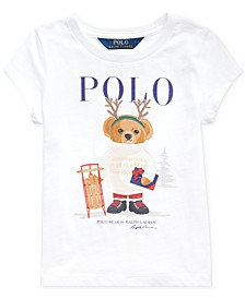 Little Girl's Reindeer Bear Cotton T-Shirt