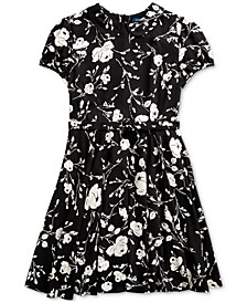 Big Girl's Floral Belted Fit-and-Flare Dress