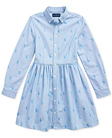 Big Girl's Pony Cotton Shirtdress