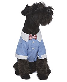 Square Cuff Dog Shirt With Bow Tie