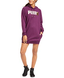 Metallic-Logo Hoodie Dress