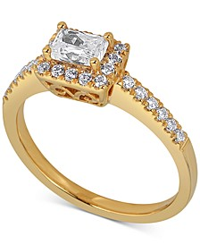 Diamond Halo Engagement Ring (5/8 ct. t.w.) in 14k Gold