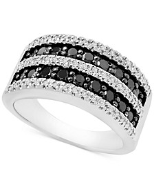 Black & White Diamond Band Ring (1 ct. t.w.) in Sterling Silver