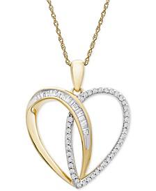 "Diamond Double Heart Baguette 18"" Pendant Necklace (1/3 ct. t.w.) in 10k Gold"