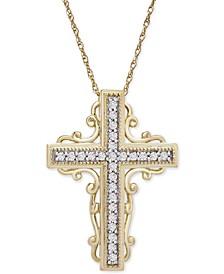 "Diamond Scrollwork Cross 18"" Pendant Necklace (1/6 ct. t.w.) in 10k Gold"