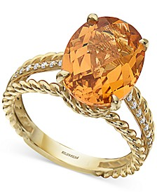 EFFY® Citrine (5 ct. t.w.) & Diamond (1/10 ct. t.w.) Statement Ring in 14k Gold