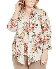 Plus Size Cedar Canyon Floral Bouquet Layered-Look Necklace Top