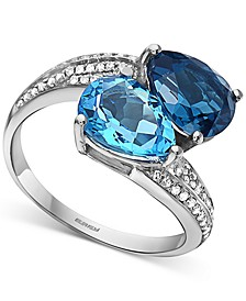 EFFY® Blue Topaz (4 ct. t.w.) & Diamond (1/5 ct. t.w.) Bypass Ring in 14k White Gold