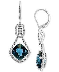 EFFY® London Blue Topaz (8 ct. t.w.) & Diamond (1/2 ct. t.w.) Drop Earrings in 14k White Gold