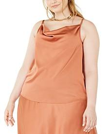 Trendy Plus Size Cowlneck Satin Camisole