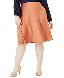 Trendy Plus Size Satin Midi Skirt