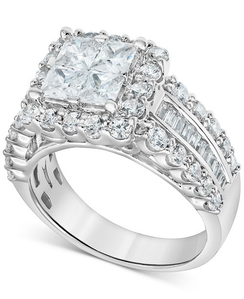 Macy's Diamond Princess Quad Cluster Engagement Ring (1-3/4 ct. t.w.) in 14k White gold