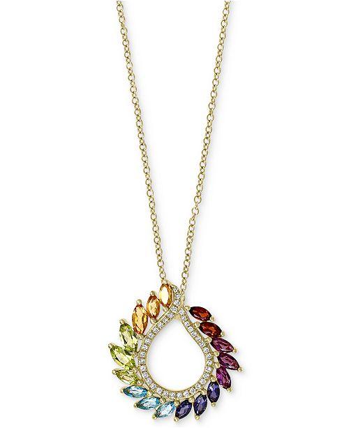 "EFFY Collection EFFY® Multi-Gemstone (1-3/8 ct. t.w.) & Diamond (1/8 ct. t.w.) 18"" Pendant Necklace in 14k Gold"
