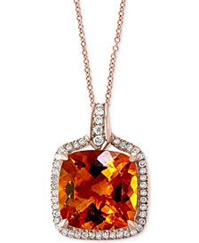 "EFFY® Citrine (8-1/3 ct. t.w.) & Diamond (1/4 ct. t.w.) 18"" Pendant Necklace in 14k Rose Gold"