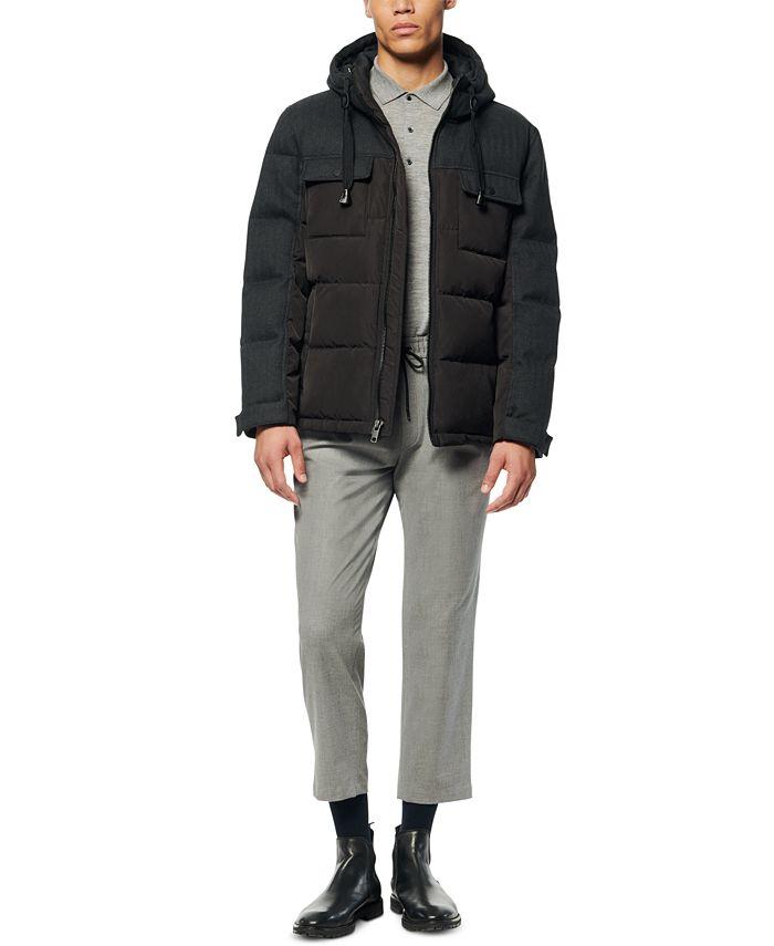 Marc New York - Men's Hopkins Tweed Mixed Fabric Down Hooded Trucker Jacket