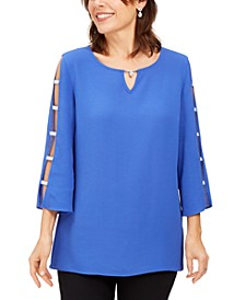 Jeweled-Neck Ladder-Sleeve Top, Created for Macy's