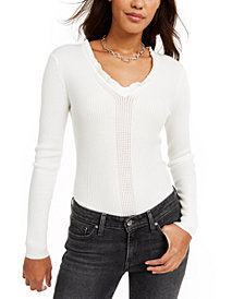 Hooked Up by IOT Juniors' Ruffled V-Neck Sweater
