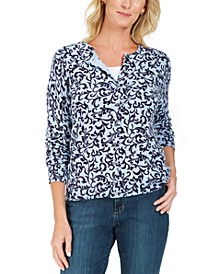 Scroll-Print Cardigan, Created For Macy's