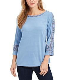 Petite Crochet-Sleeve Top, Created for Macy's