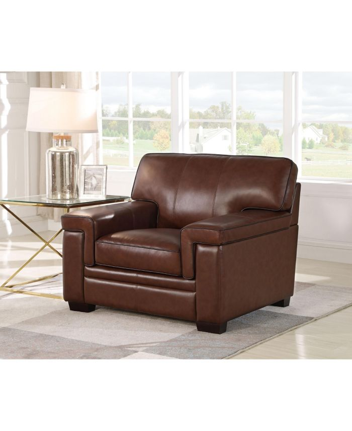 Abbyson Living Harper Leather Arm Chair & Reviews - Chairs - Furniture - Macy's