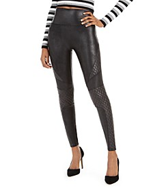 Faux-Leather Quilted Leggings