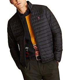 Men's Red Fleece Quilted Puffer Jacket