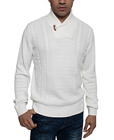 Men's Tri-Pattern Shawl Collar Sweater
