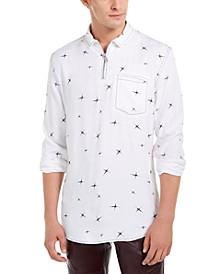 INC Men's Regular-Fit Star-Print 1/4-Zip Shirt, Created For Macy's