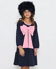 Little Girls A-Line Long Sleeve Dress with A Gathered Skirt and A Pink Bow On The Center