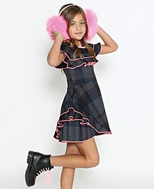 Little Girls A-Line Long Sleeve Dress with A Pleated Skirt and Exaggerated Collared Neck