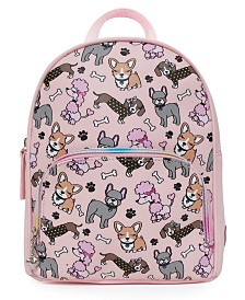 OMG! Accessories Mixed Puppies Printed Mini Backpack