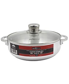 Kitchen Sense Polished Aluminum Caldero Dutch Oven Cauldron with Glass Lid and Stainless Steel Knobs