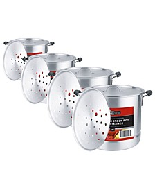 Kitchen Sense 4 Piece Aluminum Stock Pot Set with Steamer and Heat Resistant Silicone Handles