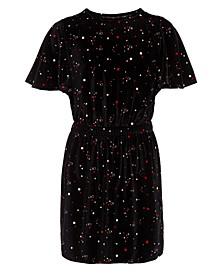 Big Girls Velour Flutter-Sleeve Dress