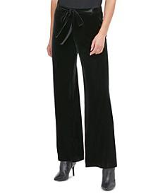 Velvet Wide-Leg Pull-On Pants