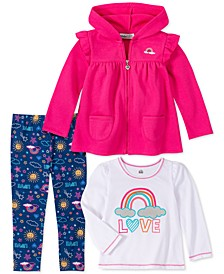 Toddler Girls 3-Pc. Hooded Fleece Jacket, Love Top & Printed Leggings Set