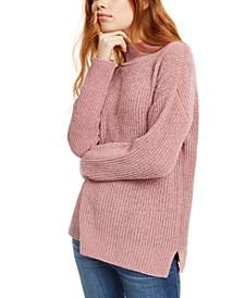 Juniors' Mock-Neck Chenille Sweater