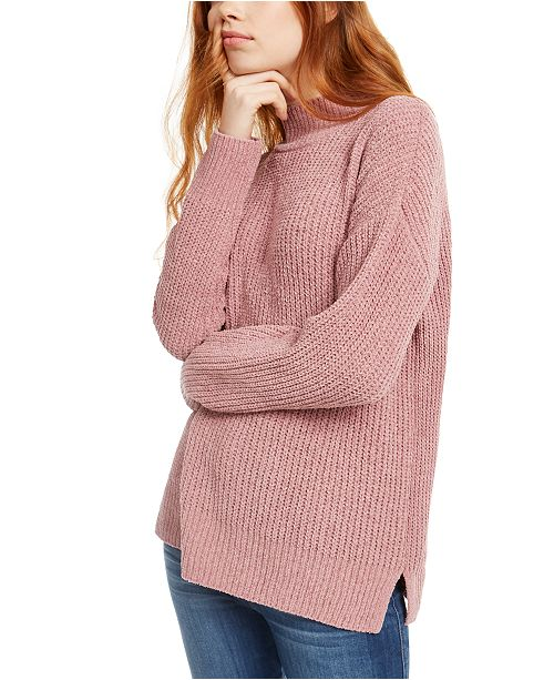 Hippie Rose Juniors' Mock-Neck Chenille Sweater
