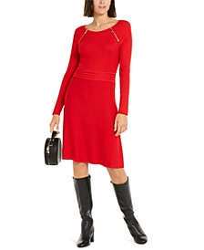 INC Zip-Detail Fit & Flare Sweater Dress, Created for Macy's