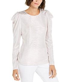 INC Puff-Sleeve Shine Top, Created for Macy's