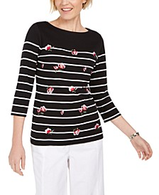Embroidered 3/4-Sleeve Top, Created For Macy's