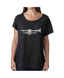 Women's Dolman Cut Word Art Shirt - Trumpet