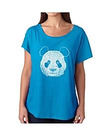 Women's Dolman Cut Word Art Shirt - Panda