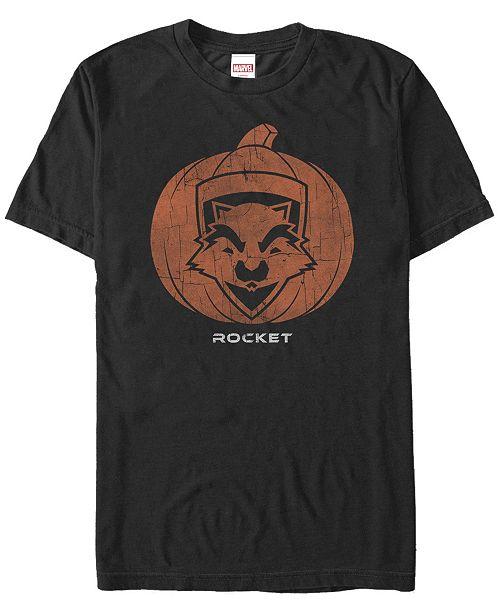 Fifth Sun Marvel Men's Guardians of the Galaxy Rocket Pumpkin Face Short Sleeve T-Shirt