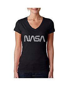 LA Pop Art Women's Word Art V-Neck T-Shirt - Worm Nasa