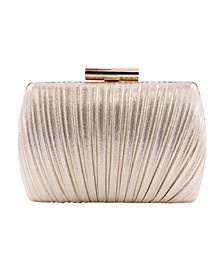 Shimmer Metallic Peacock Pleat Minaudiere