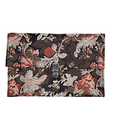 Floral Jacquard Envelope with Turn Lock Closure