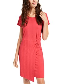 Juniors' Ribbed Twist-Front Dress