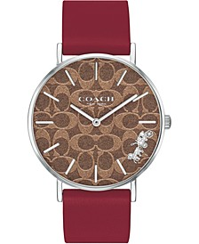 Women's Perry Red Leather Strap Watch 36mm, Created For Macys