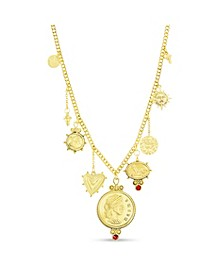 Figure Coin, Stone and Sun Charms Necklace in Yellow Goldtone Alloy